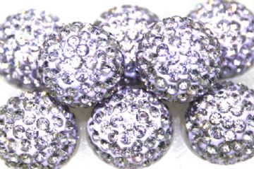 12mm Lilac 130 Stone Pave Crystal Beads - Half Drilled  PCBHD12-130-015